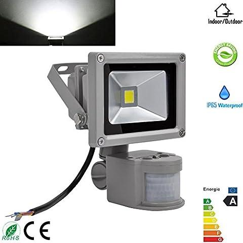 10W Kaltweiß LED Fluter mit Bewegungsmelder Lampe Außenstrahler Leuchte IP65,Smart PIR Outdoor Security Flutlicht