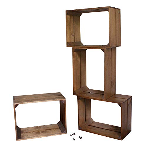 Liza line libreria componibile libreria componibile con 4 cassette in legno di pino – mensole stile vintage. mobile contenitore a 4 vani. pino massiccio – ogni cassa misura 40x30x20 cm (noce marrone)