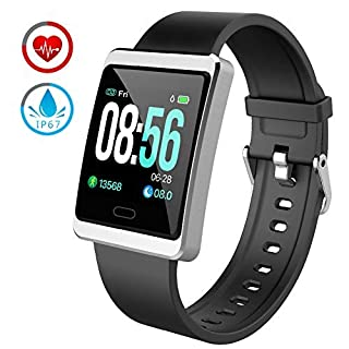 ZKCREATION Fitness Tracker Bluetooth Smart Watch 24-hour Heart Rate Monitoring Record Running Track Sleep Monitoring Calorie Counter Activity Tracker IP67 Waterproof Compatible with Android and iOS