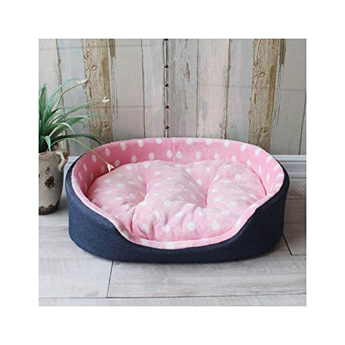 Harla Pet Betten Warm Welpen-Katze-Kennel-Haus-Matten Großes Hundebett S, M, L, X, Pink Dots, 89X73X22cm