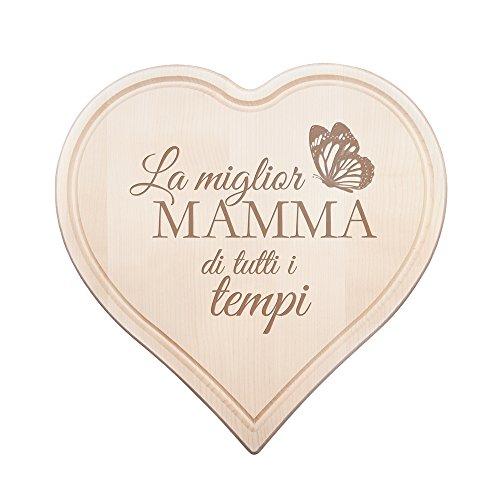 Tagliere in legno a forma di cuore - incisione farfalla - la miglior mamma di tutti i tempi - utensili da cucina - vassoio - piatti in legno - regalo mamma - regali festa della mamma - regalo donna