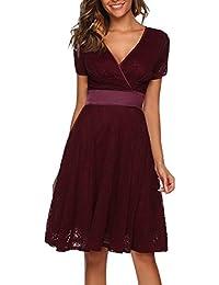 8dd9c4c7cf835 ACEVOG Damen Elegant Spitzenkleid Abendkleid Cocktailkeid Sommerkleid Swing  Kleid A Linie V Ausschnitt Festlich Knielang Schwarz…