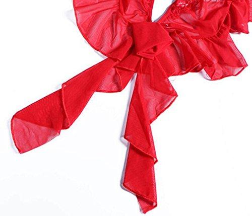 Pigiama Maglia Indumenti Da Notte Sexy Biancheria Intima A Tre Punti Uniforme Garza Prospettiva Vestito Pigiami Sexy Regali Di Natale Red