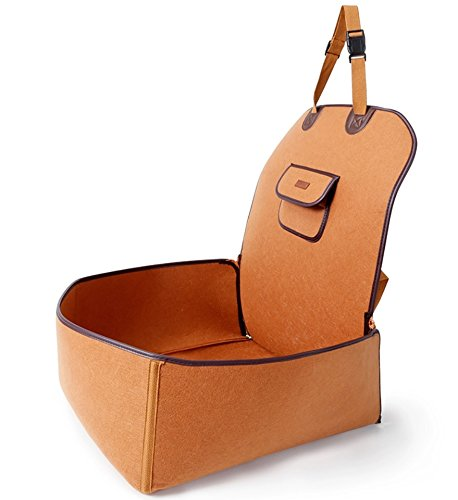TapTap Hunde Autositz für kleine und mittlere Hunde, Hundesitz Auto aus natürlichem Filz in Orange für Beifahrerseite oder Rücksitz mit Sitzanker (45 * 45 * 60CM)