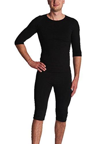 Gina's Bodywear Herren EMS-Wäsche, Trainingsanzug, Oberteil und Hose im Set, optimale Impulsweiterleitung (Schwarz, L)