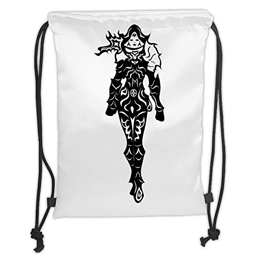 ZKHTO Drawstring Sack Backpacks Bags,Video Game,Illustration of a in Black and White Futuristic Fiction Battle Fantasy Heroes Art,Multi Soft Satin,5 Liter Capacity,Adjustable String Closure,T
