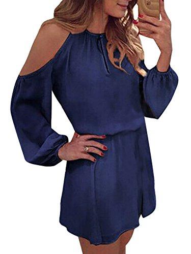 YOINS Sommerkleid Damen Kurz Schulterfrei Kleid Elegante Kleider für Damen Strandmode Langarm Neckholder A Linie Dunkelblau EU32-34(Kleiner als Reguläre Größe) Jeans Kleid