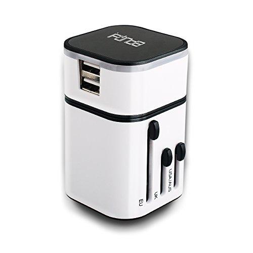 Ifunda All-In-One travel adapter charger (US UK EURO AU) Universale WorldWide Adattatore Caricatore da Viaggio e 2 USB [3.2A] per Stati Uniti Regno Unito UE Spina (Bianco)