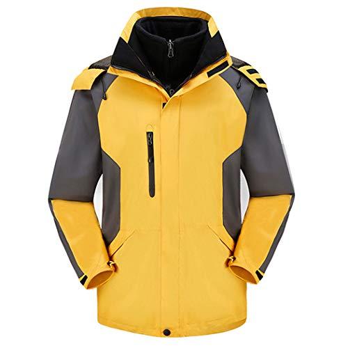 Huifa giacca invernale da uomo spessa giacca antivento tuta da alpinismo in due pezzi impermeabile caldo inverno (colore : giallo, dimensioni : xs)