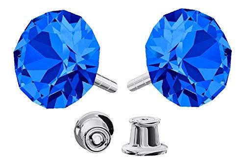 Crystals & Stones *Xirius* 925 Sterlingsilber Ohrstecker *Viele Farben* - Ohrringe mit Kristallen von Swarovski® - Schön Ohrringe Damen - Wunderbare Ohrringe mit Schmuckbox - PIN/75 (Capri Blue) -