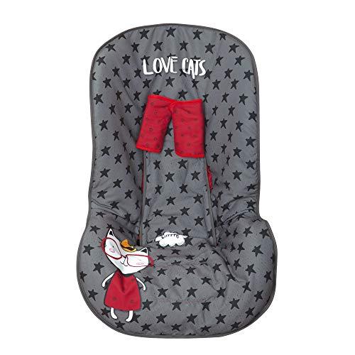 Babyline - Fodera per seggiolino d'auto, gruppo 0/1/2, con copri cinghie Love Cats