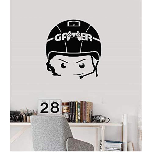 Vinyl wand applique junge videospiel headset raumkunst aufkleber wandbild spielhalle unterhaltung veranstaltungsort dekoration 57x61 cm
