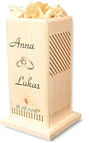 Original - Zirben-Duftsäule mit individueller Beschriftung - das ideale Geschenk zur Hochzeit - Naturprodukt   Zirbenduftkamin   Zirbenwürfel