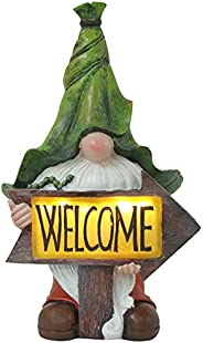 Lurrose Garden Gnome Statue Welcome Resin Statue with Solar Led Lights Garden Figurines Decoration Patio Yard