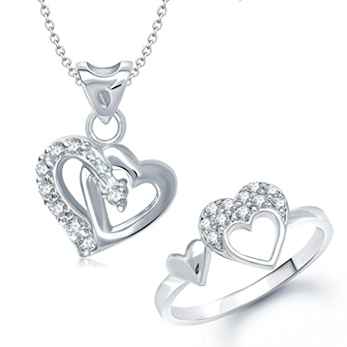 V. K. Jewels Double Heart Shape Combo Ring & Pendant- Combo1031R Size 10 [Vkcombo1031R10]