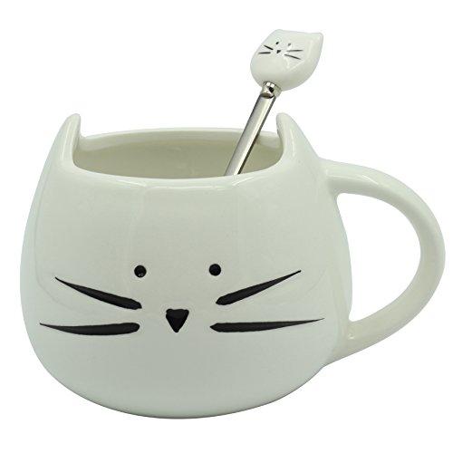 Moonpop - Juego de taza de gato para café y cuchara de gato, 300 ml, taza de cerámica con animal, té, leche, agua., White set, mediano