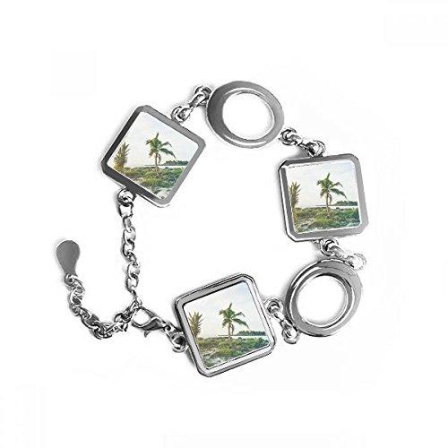 Ocean Sand Beach Ananas Palme Meer Bild quadratische Form Metall Armband Love Gifts Jewelry mit Kette Dekoration