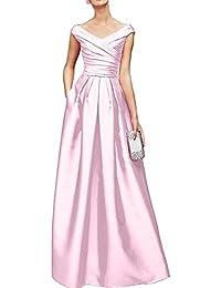 Gorgeous Bride Elegant Lang V-Ausschnitte Empire Satin Cocktailkleid Partykleid Festkleid