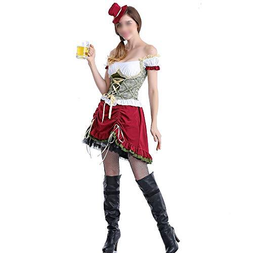 HUOFEIKE Fräulein Bier Kostüm, Adult Holiday Kleider, Split Typ Thema Party Kleid, Halloween Cosplay, Rollenspiele Bühne Dress Up Dress Masquerade Damen,Sd,M (Bier Themen Kostüm)