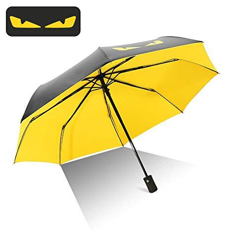 UV-Schutz Regenschirm Kleiner Teufel Regenschirm Sonnenschirm Männer und Frauen Taschenschirm schwarz Kunststoff Regenschirm Dual Use Sonnenschutz UV-Schutz Automatische Zitronengelb 23 Zoll (Teufel Sind Der Frauen)