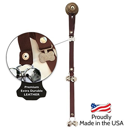 Artikelbild: PoochieBells The Original & Trusted Dog Housetraining Doorbell. Potty Dog Bells to Housetrain & Communicate With Your Dog : Handcrafted in USA Since 2005 : Endorsed by Pet Industry Professionals : Easy 95% Success Rate: Potty Training Instructions Included : Premium Leather Collection, Dark Walnut by PoochieBells