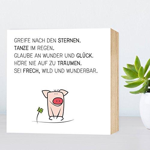 Glück-Schwein - Greife nach den Sternen... - einzigartiges Holzbild 15x15x2cm zum Hinstellen und...