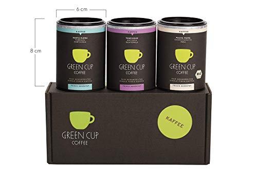 Green Cup Coffee Kaffee Probierset - sortenreine, fair gehandelte Arabica Kaffeebohnen - Kaffee Bohnen aus Costa Rica, Guatemala & Peru - 3x 45g ganze Bohne Green Cup