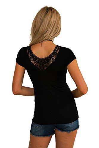 Jc.Kube Damen Sexy T-Shirt Tops Bluse Oberteil Mit Spitze