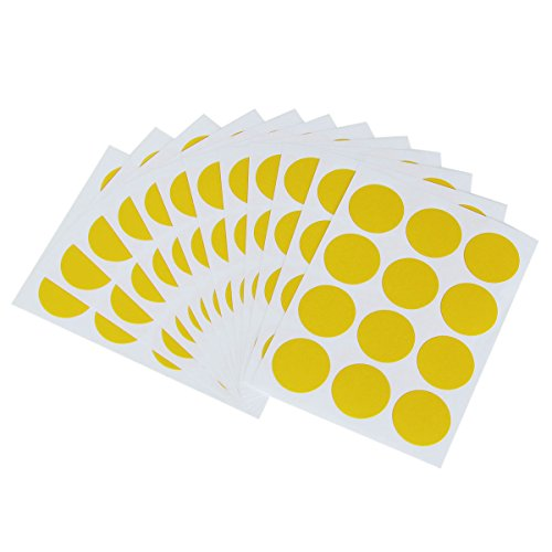 Bluelover 144Pcs 25Mm Rond Couleur Point Blank Prix Stickers Cercle Étiquettes Collantes Vinyle Tour Code Maison Decor-Jaune
