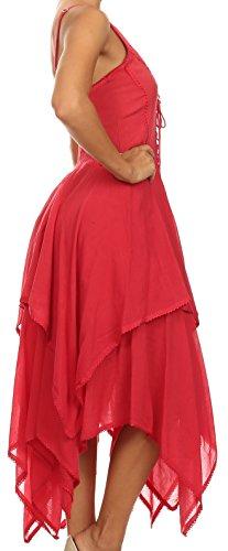 SakkasLady Mary Jacquard Korsett Taschentuch Saum Kleid Rot