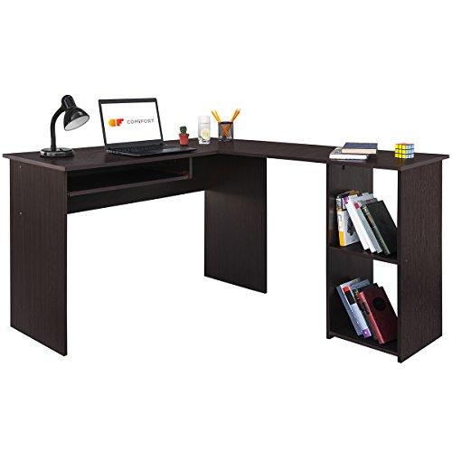 COMIFORT Escritorio, Mesa de Ordenador, Forma L, 120/140x40x75 cm (WENGUÉ)