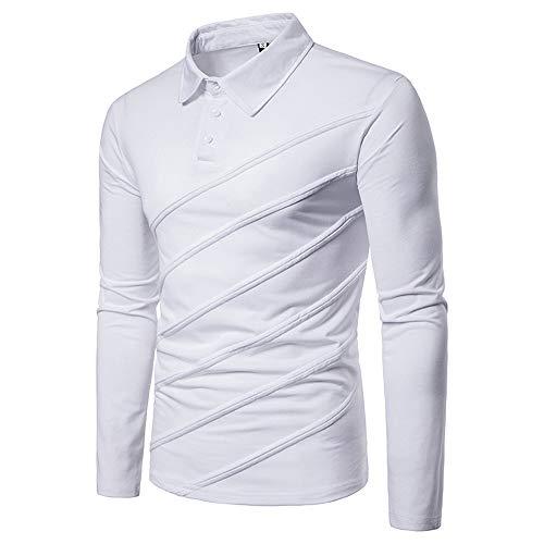 529d1ce68a154 Covermason Polo Homme T-Shirt à Manches Longues décontracté Loisir Vêtements  Poloshirts épissure Stripe Bouton