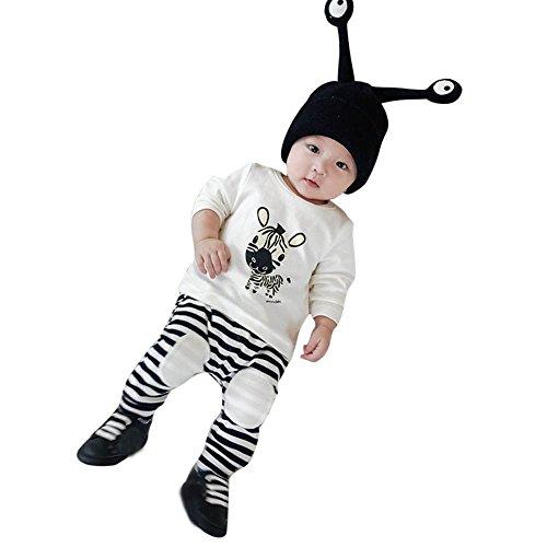 TPulling Mode Herbst Und Winter Baby Zebra Print Langarm T-Shirt Streifen Hosen Set Casual Kleinkind Top Pullover Mantel Strickjack Jacke Dicke Outfits (Weiß, 80) (Kostüm Halloween Kleinkind Zebra)