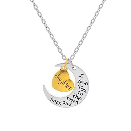Hosaire Collar Cadena Ajustable Colgante Amor Plata Cartas de Luna Joyería Regalo para Mujer Moda Color Plata (Daughter)