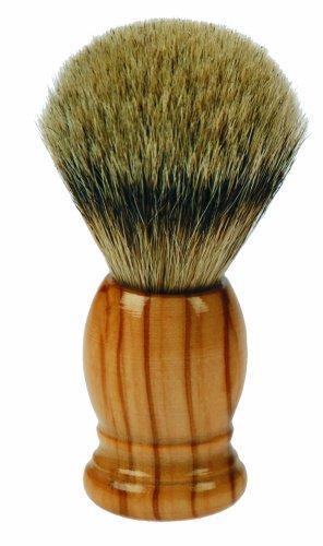 Fantasia Blaireau de barbier en bois d'olivier et poils de blaireau à pointe argentée 10 x Ø 3,5 cm