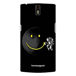 HomeSoGood Giving Moon A Smile Black Mobile Cover For OnePlus One (Back Cover)