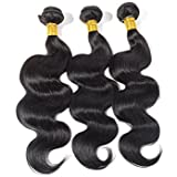 16 18 20 : LURE 3 Virgin Unprocessed Brazilian Body Wave Human Hair Weave Bundles Wefts Extensions Deal with Mixed Lengths 16 18 20 Inch 300 Grams