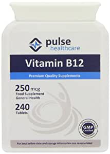 Pulse Healthcare 250mcg Vitamin B12 Premium Quality GMP Supplement - Pack of 240 Tablets