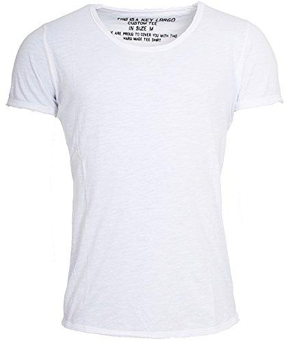 Key Largo Herren vintage used destroyed Look uni basic T-Shirt Bread new round neck tiefer Rundhals Ausschnitt einfarbig T00621, Grösse:M;Farbe:Weiß