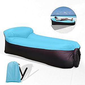 Waitiee durable imperméable à l'eau longue gonflable étanche Lightweight Polyester Air Sofa extérieur avec oreiller pour Camping, parc, plage, jardin (blackblue)