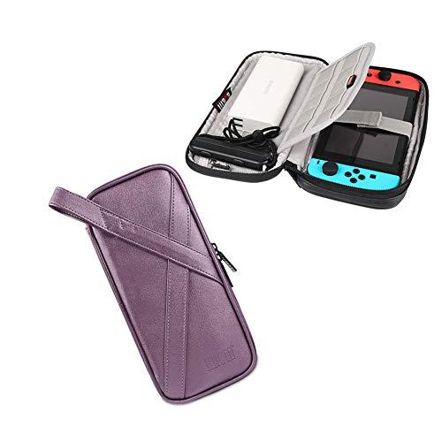 RQINW Reisekoffer Nintendo Switch, PVC/PU-Hülle Schutz- und Tragekoffer Shell-Tasche für Nintendo Switch-Konsole und Zubehör, Lila (Tragekoffer Spiel-konsole,)