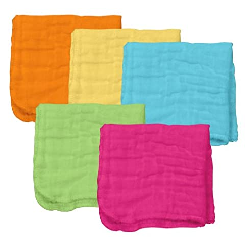 Green sprouts Brights Organic Muslin Face Cloths (Pink Set, Pack