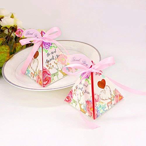 Jzk 50 triangolo cono rosa scatola portaconfetti + bigliettini, scatolina bomboniera segnaposto portariso per matrimonio compleanno anniversario promessa nozze