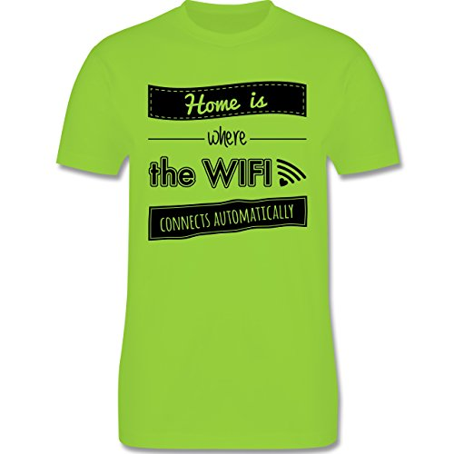 Statement Shirts - Home is where the wifi connects automatically - Herren Premium T-Shirt Hellgrün