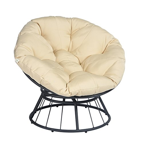 ATR Deluxe 360 Swivel Papasan Chair with Soft Cushion, Outdoor Patio Swivel Glider Rocking Lounge Chair, Deep Seating Moon Chair, Solid Twill Fabric Khaki Cushion