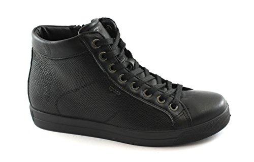 IGI&CO 87670 Nero Scarpe Donna Sneakers Alte Lacci Zip Pelle Nero