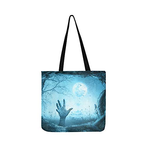 Der magische Wald ist in der Nacht erschreckend Canvas Tote Handtasche Schultertasche Crossbody Taschen Geldbörsen für Männer und Frauen Einkaufstasche (Wald Halloween Den Magischen In)