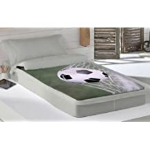 COTTON ART. Saco nórdico CON RELLENO FUTBOL para cama 90 x 190/200 + 1 funda de almohada. Saco unido a la bajera con cremallera.