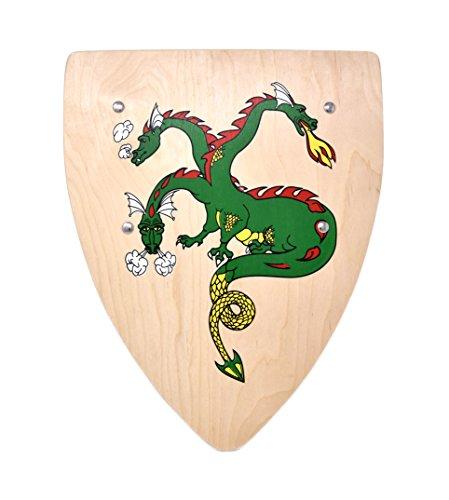 Ritter Kinder Holz Schild mit Drachen Wappen Ritterschild (Schild Drachenburg)