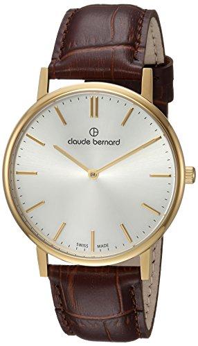 claude bernard Mens Analog Swiss-Quartz Watch with -Leather Strap 20214 37J AID